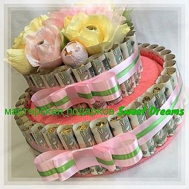 Сувениры и подарки ручной работы. Ярмарка Мастеров - ручная работа Букет из конфет Денежно - конфетный торт - шкатулка. Handmade.