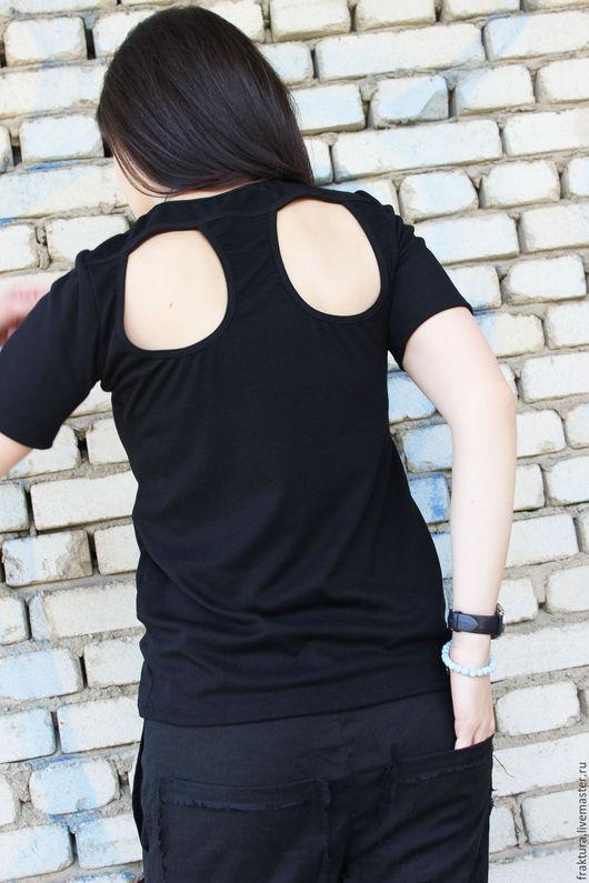 Блузки ручной работы. Ярмарка Мастеров - ручная работа. Купить Ребристая блузка  B0023. Handmade. Черный, черная туника