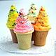 """Мыло ручной работы. Ярмарка Мастеров - ручная работа. Купить Мыло """"Мороженное в рожке"""". Handmade. Разноцветный, торт, маффин, сладкоежке"""
