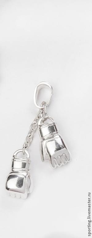 Кулон/подвеска) ММА перчатки из серебра/серебро на шею в коробочке.
