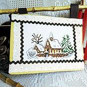 Картины и панно ручной работы. Ярмарка Мастеров - ручная работа Первое утро нового года панно с ручной вышивкой крестом дом елки снег. Handmade.