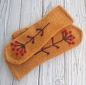 Аксессуары handmade. Livemaster - original item A copy of the work, knit Mittens, felted with embroidery. Handmade.