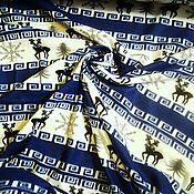 """Ткани ручной работы. Ярмарка Мастеров - ручная работа Флис """"Олени на синем"""". Handmade."""