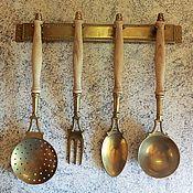 Винтаж ручной работы. Ярмарка Мастеров - ручная работа Винтажный набор кухонных принадлежностей. 5 предметов. Латунь, дерево. Handmade.