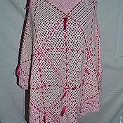 Одежда ручной работы. Ярмарка Мастеров - ручная работа Пончо, вязаное крючком, розового цвета. Handmade.