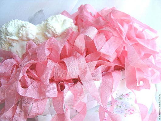Куклы и игрушки ручной работы. Ярмарка Мастеров - ручная работа. Купить Шебби-лента Теплый искрящийся розовый. Handmade.