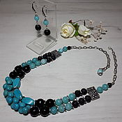 Украшения handmade. Livemaster - original item Set with agate, turquoise, amazonite and lava
