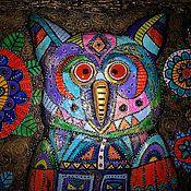 """Картины и панно ручной работы. Ярмарка Мастеров - ручная работа Панно """"Волшебная сова"""".. Handmade."""