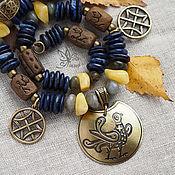 """Осенины"" ожерелье. Лазурит, янтарь, керамика"