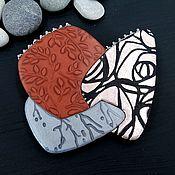 Украшения handmade. Livemaster - original item Brooch made of polymer clay - Geometry boho. copper glitter. Handmade.