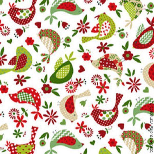 Шитье ручной работы. Ярмарка Мастеров - ручная работа. Купить Бязь Птички красно-зеленые 150 см. Handmade. Комбинированный