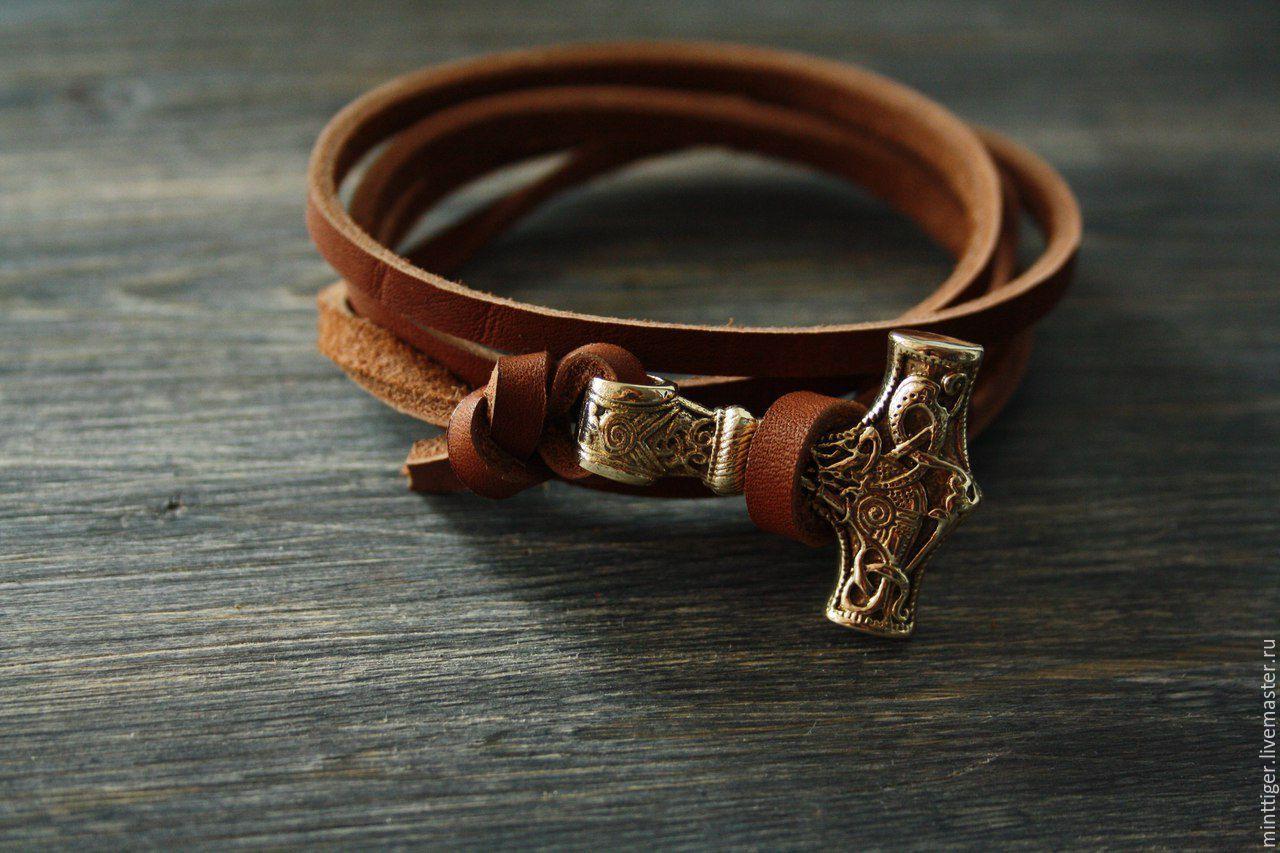 Leather bracelet 'Hammer of Thor', Decoration, Volgograd,  Фото №1