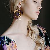 Украшения handmade. Livemaster - original item Classic earrings: asymmetric earrings made of wood with gilding. Handmade.