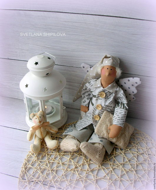 Куклы Тильды ручной работы. Ярмарка Мастеров - ручная работа. Купить Ангелдобрых снов в стиле тильда сплюшка. Handmade. Бежевый