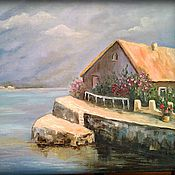 """Картины и панно ручной работы. Ярмарка Мастеров - ручная работа картина маслом """"дом у моря"""". Handmade."""