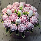 Косметика ручной работы handmade. Livemaster - original item Bouquet of peonies in a hat box. Handmade.