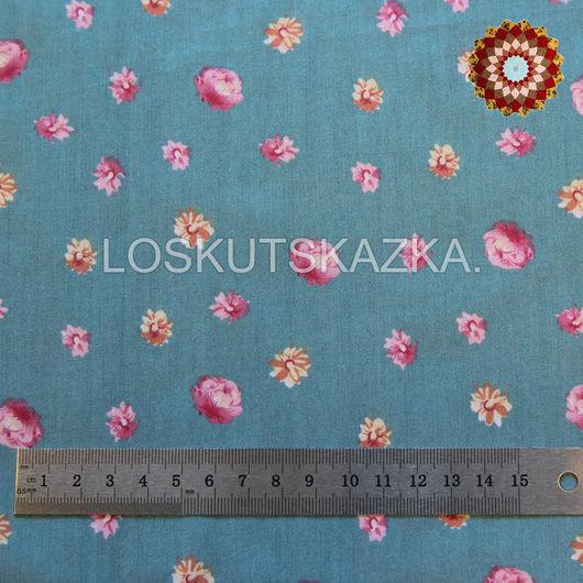 Ткань хлопок `Цветы на бирюзовом`. Код товара: DFS-00064