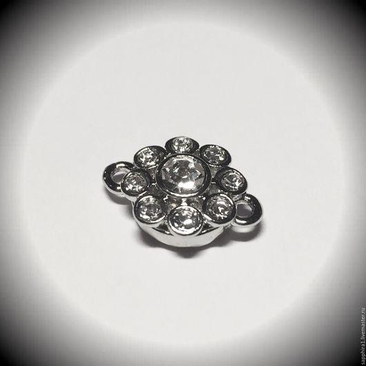 Для украшений ручной работы. Ярмарка Мастеров - ручная работа. Купить Замочек магнитный с кристаллами родий. Handmade. Серебряный