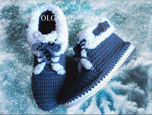Обувь ручной работы. Ярмарка Мастеров - ручная работа. Купить Ботинки (осень-зима). Handmade. Тёмно-синий, зима, для офиса