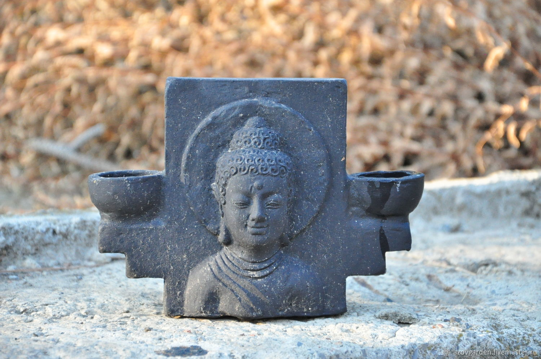 Candle holder Buddha double sided of concrete, dusty black patina, Candlesticks, Azov,  Фото №1