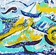 """Абстракция ручной работы. Картина """"На летних волнах"""". Наталья Сидорова - Живопись. Интернет-магазин Ярмарка Мастеров. Абстракция, волны"""