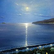 Картины и панно handmade. Livemaster - original item The author`s picture of a moonlit night in Gagra. Handmade.