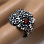 Украшения handmade. Livemaster - original item Silver 925 ring with a garnet from Magma. Handmade.
