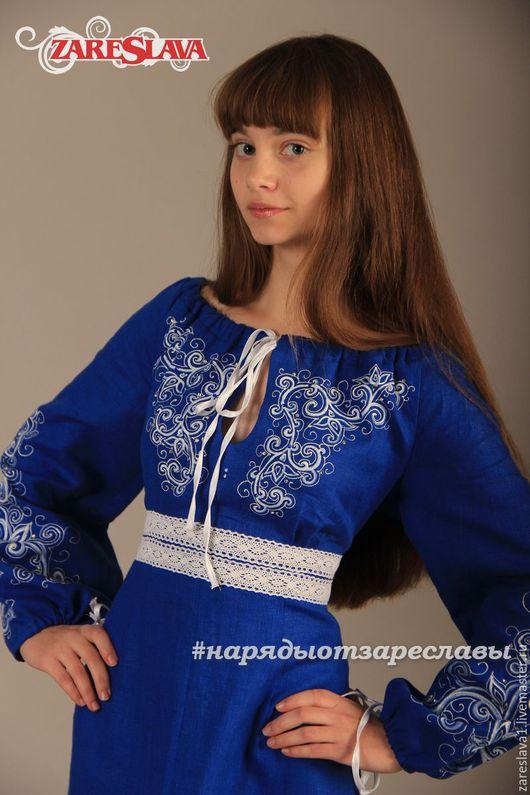 Одежда ручной работы. Ярмарка Мастеров - ручная работа. Купить Платье Натали из синего льна с росписью. Handmade. Тёмно-синий