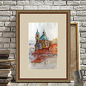 Pictures handmade. Livemaster - original item Painting watercolor the roof of Prague (red cyan city landscape). Handmade.