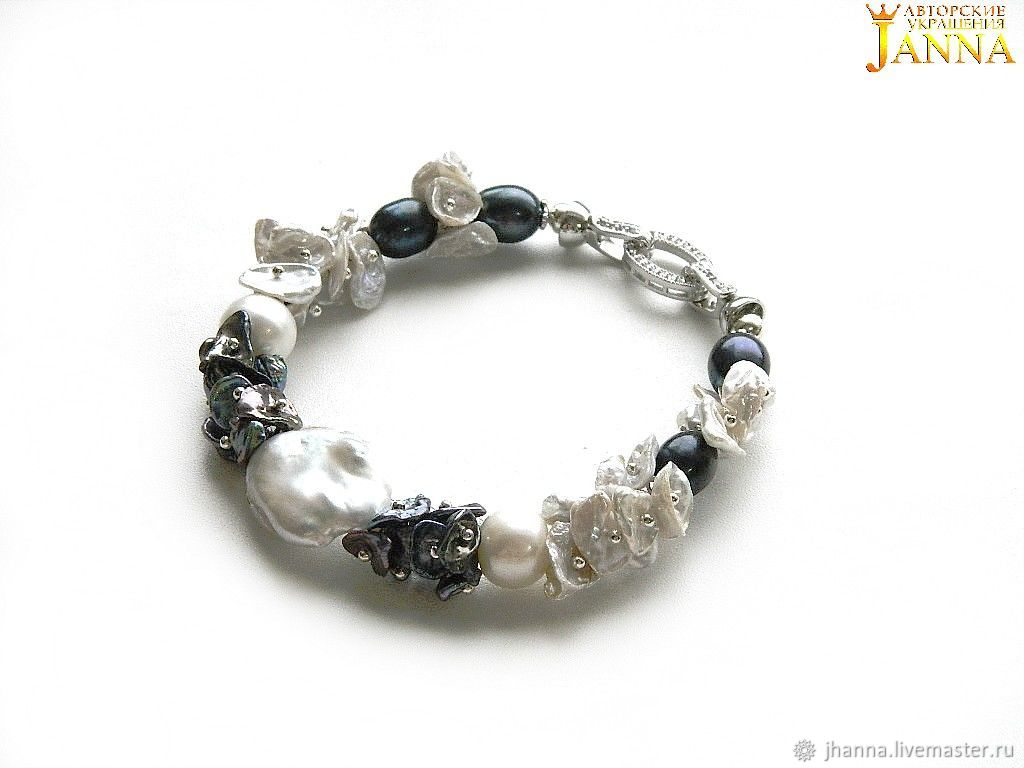 Pearl. ' Cruise' a lush bracelet of freshwater pearls, Bead bracelet, Volgograd,  Фото №1