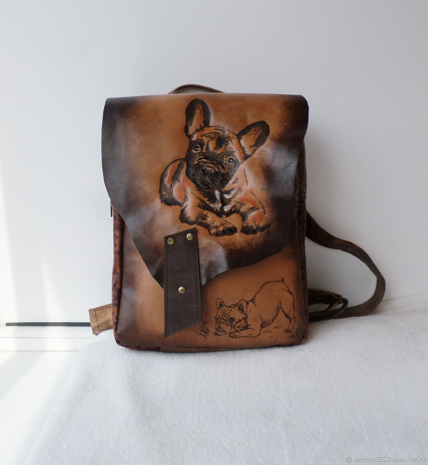 Women's leather backpack with engraving and painting, Backpacks, Noginsk,  Фото №1