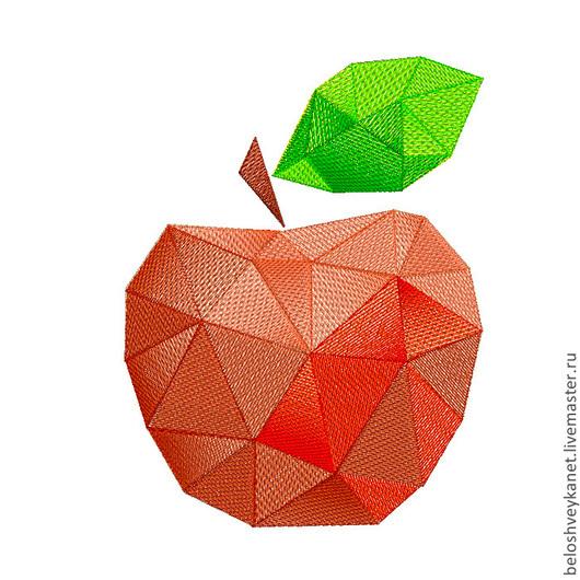 """Вышивка ручной работы. Ярмарка Мастеров - ручная работа. Купить """"Геометрическое яблоко"""" дизайн для вышивания. Handmade. Машинная вышивка, яюлоко"""