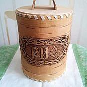 Банки ручной работы. Ярмарка Мастеров - ручная работа Туес берестяной для риса. Изделие из бересты для хранения круп. Handmade.