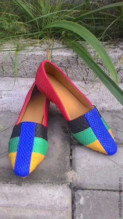 Обувь ручной работы. Ярмарка Мастеров - ручная работа. Купить Лоферы из питона. Handmade. Разноцветный, туфли из питона, Балетки на заказ