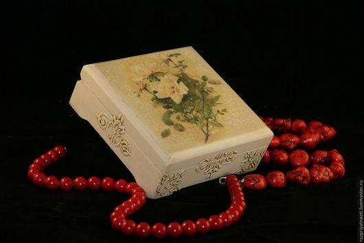 Шкатулки ручной работы. Ярмарка Мастеров - ручная работа. Купить Шкатулка Чайная роза. Handmade. Бежевый, Декупаж