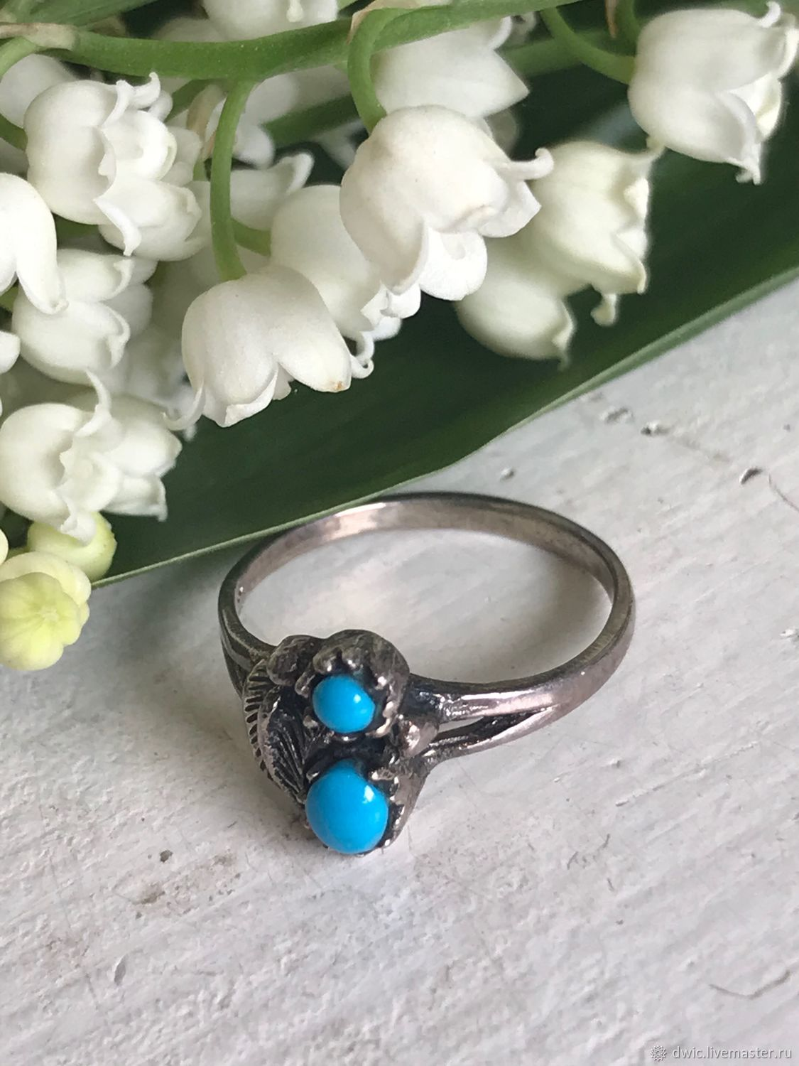 Ring with turquoise 'Drops', 925 silver, Holland, Vintage ring, Arnhem,  Фото №1