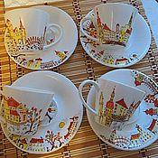 """Посуда ручной работы. Ярмарка Мастеров - ручная работа По мотивам """"Осенние улочки"""". Handmade."""