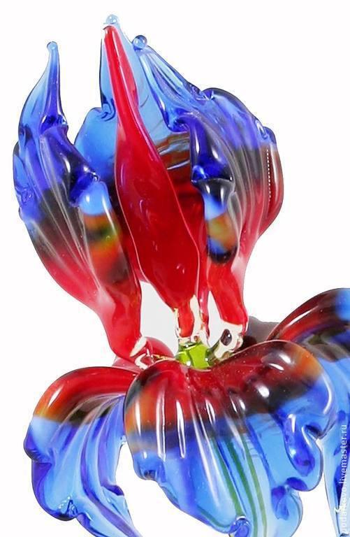 Статуэтки ручной работы. Ярмарка Мастеров - ручная работа. Купить Ирис синий-красный. Handmade. Синий, цветок из стекла