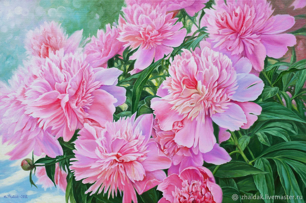 The painting 'Peonies' 40 x 60 cm, Pictures, Rostov-on-Don,  Фото №1