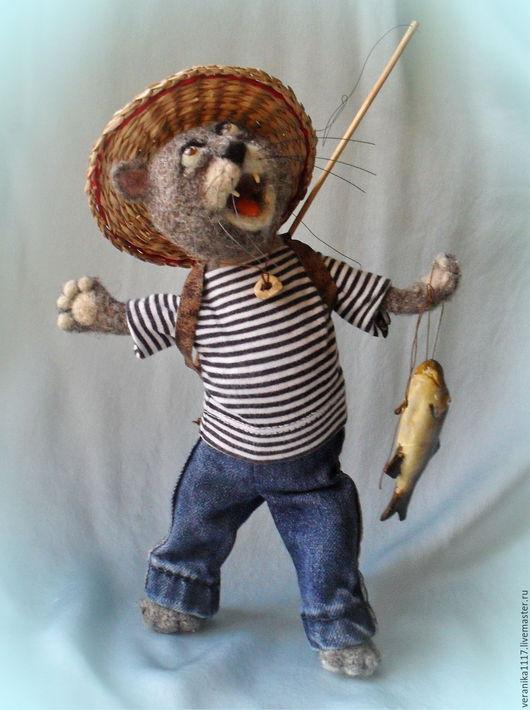 """Игрушки животные, ручной работы. Ярмарка Мастеров - ручная работа. Купить Игрушка из шерсти """"Счастье есть!!!"""". Handmade. Кот рыбак"""