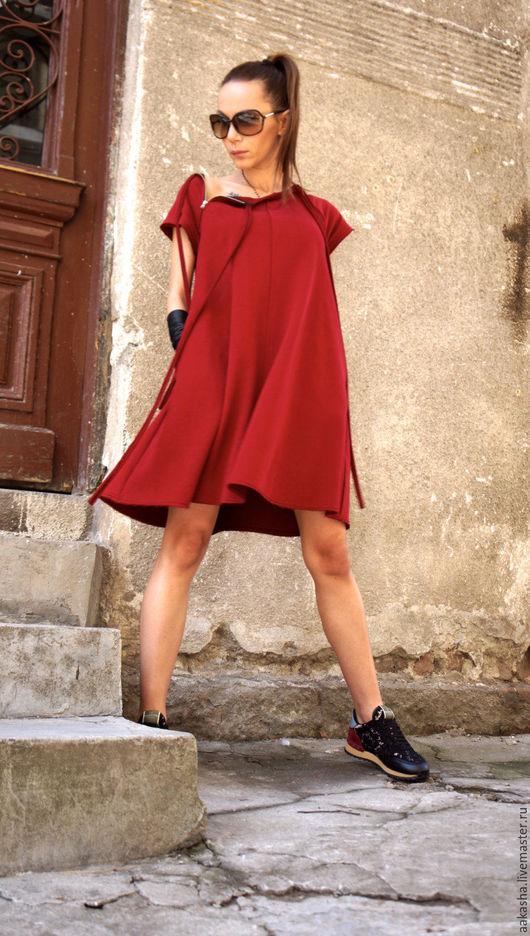 короткое платье красное трикотажное мини на молниях стильное платье