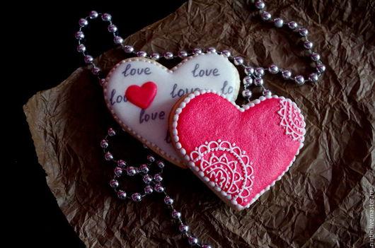 """Подарки для влюбленных ручной работы. Ярмарка Мастеров - ручная работа. Купить Пряничный набор """"Для двоих"""". Handmade. Ярко-красный"""