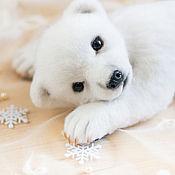 Куклы и игрушки ручной работы. Ярмарка Мастеров - ручная работа белый медвежонок Момо. Handmade.