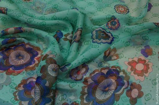 Шитье ручной работы. Ярмарка Мастеров - ручная работа. Купить Ткань плат. шифон набивной Gucci, 150 см, ментол. Handmade.