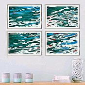 Картины и панно handmade. Livemaster - original item Abstract paintings for the interior, a series of Marine-themed Posters. Handmade.
