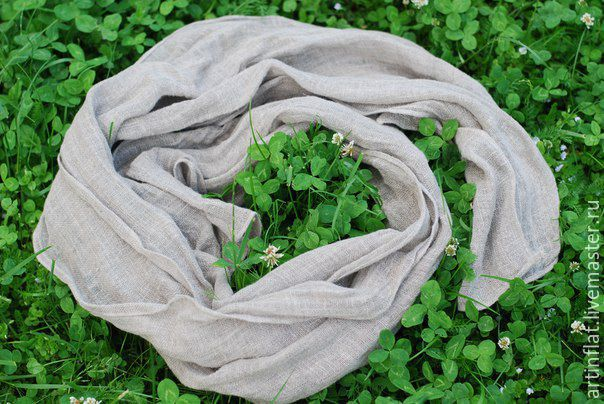 Linen scarf natural grey boho male, Scarves, Moscow,  Фото №1