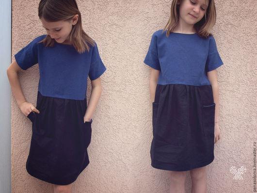 Одежда для девочек, ручной работы. Ярмарка Мастеров - ручная работа. Купить Сине-чёрное платье на девочку 6-7 лет. Handmade.