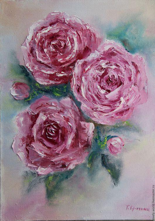 """Картины цветов ручной работы. Ярмарка Мастеров - ручная работа. Купить Картины маслом """"Нежные розы"""". Handmade. Розовый, подарок"""