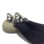 Украшения handmade. Livemaster - original item Earrings black tassel with black hardware.. Handmade.
