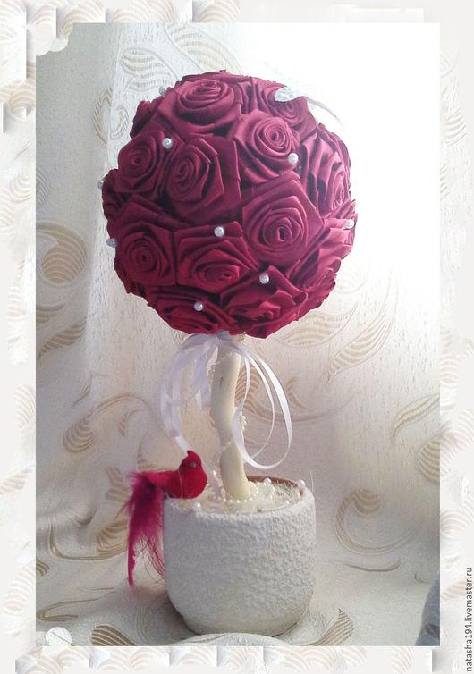 """Топиарии ручной работы. Ярмарка Мастеров - ручная работа. Купить Топиарий """"Красные розы"""". Handmade. Топиарий, топиарий дерево счастья"""